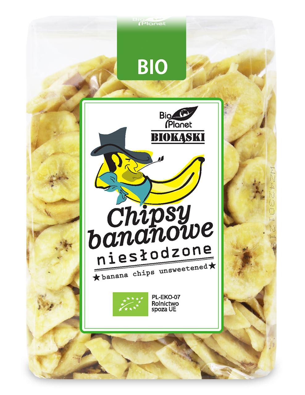 UNSWEETENED BANANA CHIPS BIO 350 g