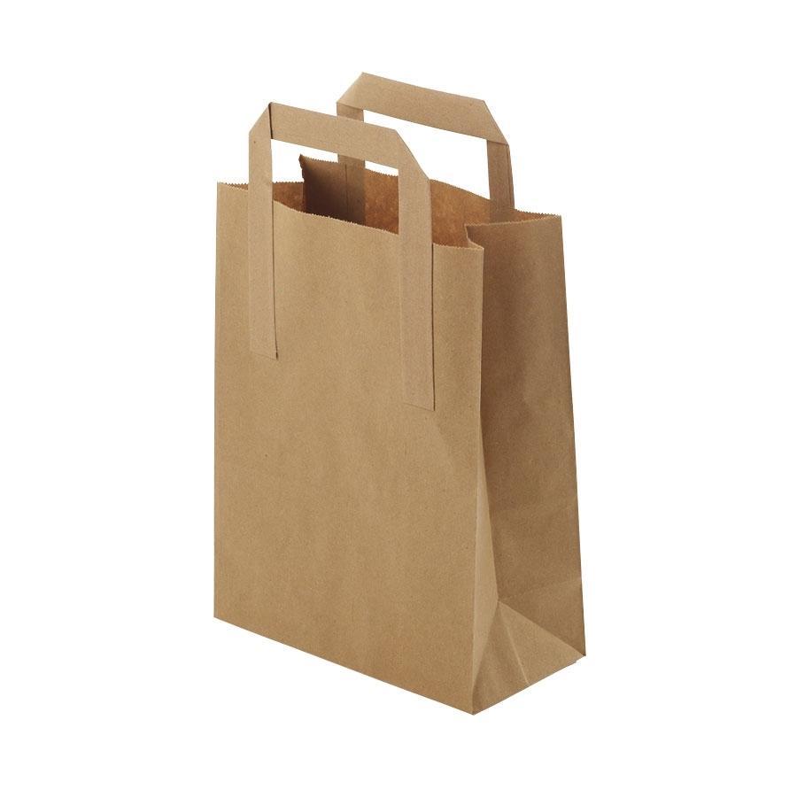 Brown paper carrier bag L 255 x 125 x 305 mm - 25 pieces