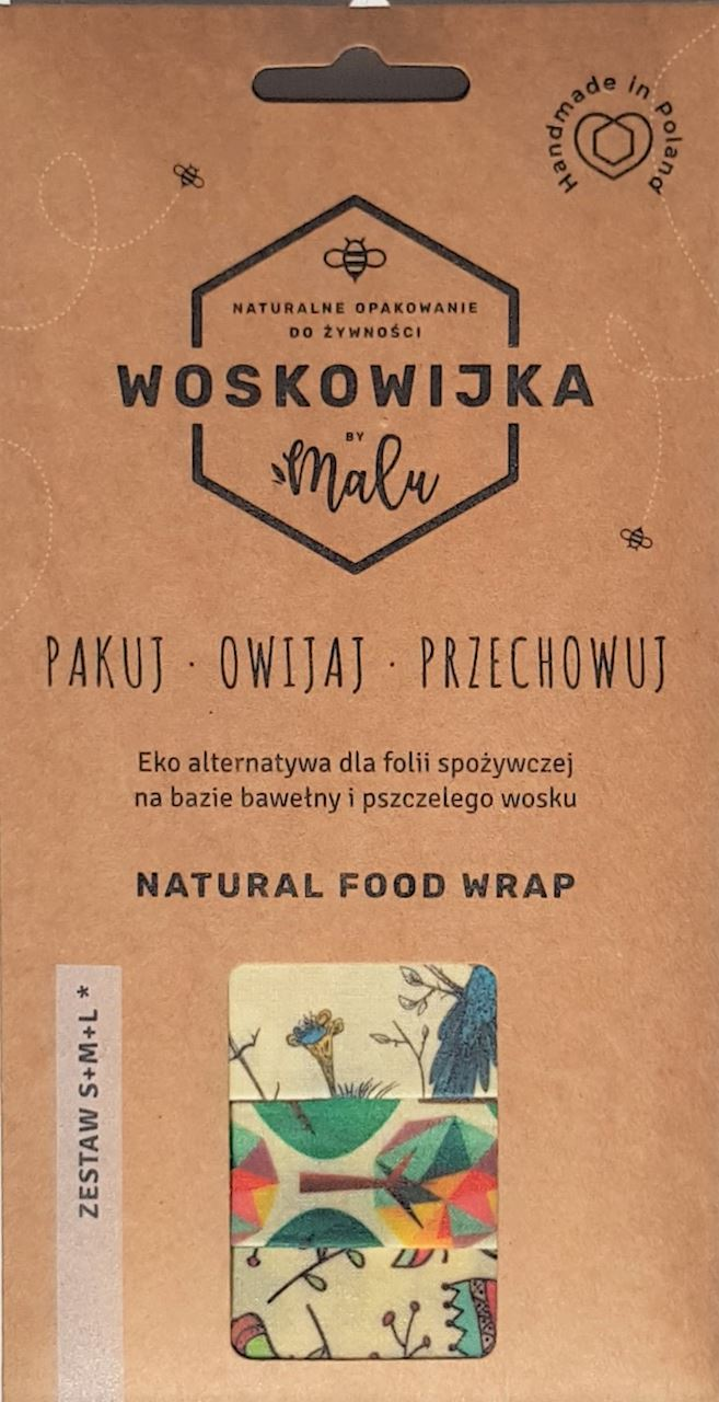 NATURAL FOOD WRAP WITH BEESWAX S+M+L