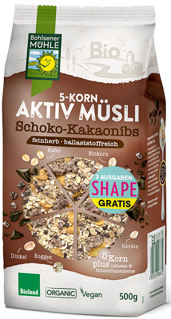 5 CEREAL MUESLI WITH CHOCOLATE AND COCOA BEANS BIO 450 g