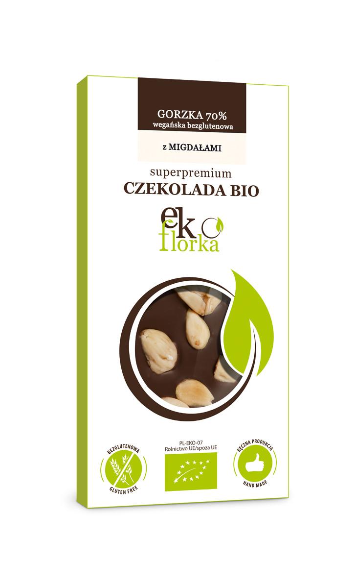 PREMIUM DARK CHOCOLATE WITH ALMONDS BIO 85 g