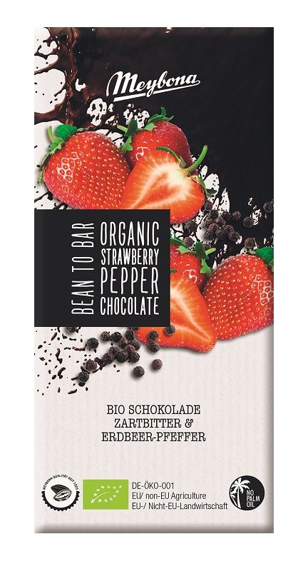 BITTER CHOCOLATE WITH STRAWBERRY AND PEPPER BIO 100 g